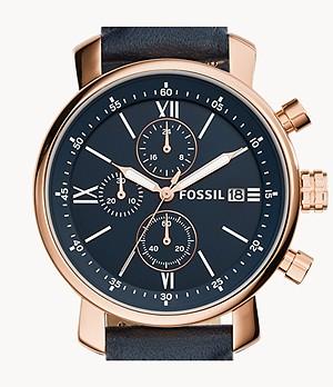 Rhett Chronograph Navy Leather Watch