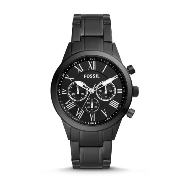 Flynn Midsize Chronograph Black Stainless Steel Watch by Fossil