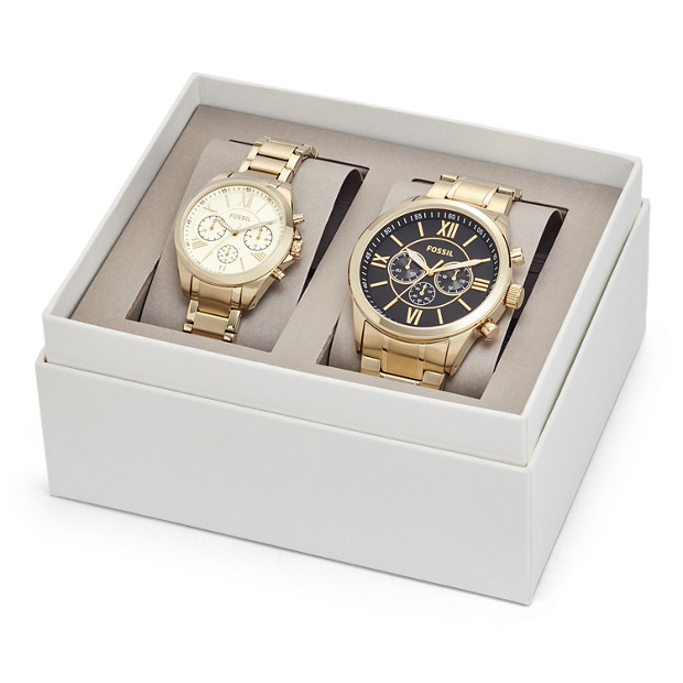 92f0d925f241 His and Her Chronograph Gold-Tone Stainless Steel Watch Gift Set ...