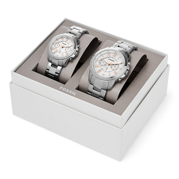 7d53efd59da15 Grant Chronograph Stainless Steel Watch Box Set - Fossil