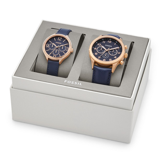 His And Hers Watch Sets >> His Chronograph and Her Multifunction Navy Leather Watch Gift Set - Fossil