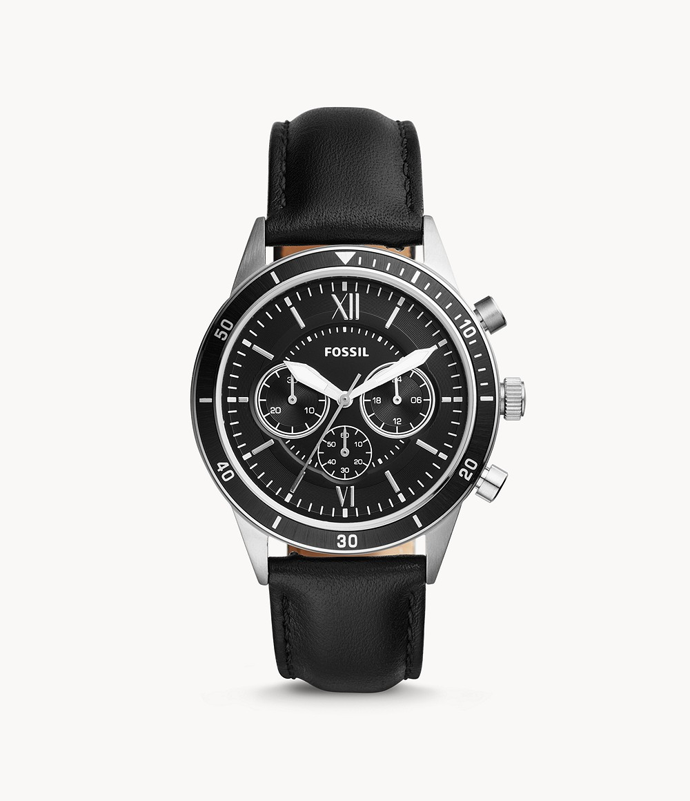Flynn Sport Chronograph Black Leather Watch