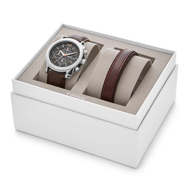 coffret cadeau avec montre editor chronographe en cuir. Black Bedroom Furniture Sets. Home Design Ideas