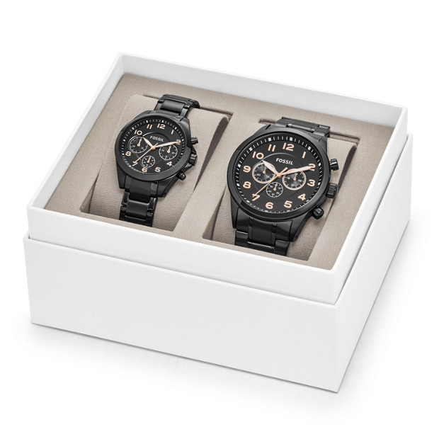 5a00cf87a64a His and Her Chronograph Black Stainless Steel Watch Gift Set - Fossil