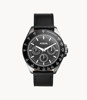 Neale Multifunction Black Leather Watch