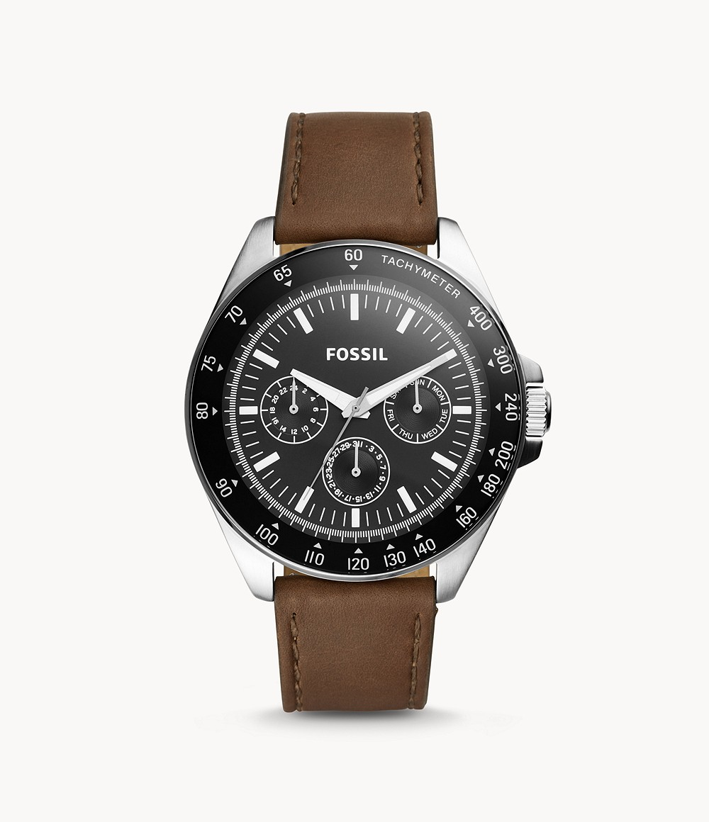 Neale Multifunction Brown Leather Watch