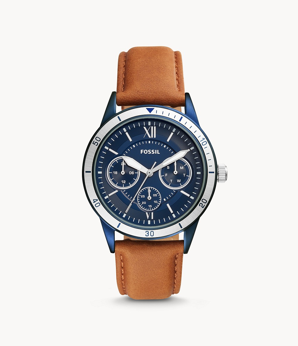 Flynn Sport Multifuntion Brown Leather Watch