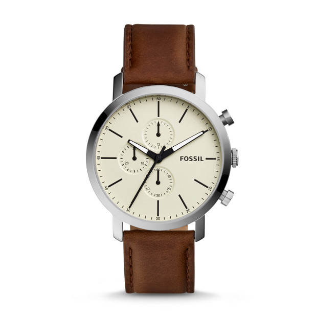 Luther Chronograph Brown Leather Watch by Fossil