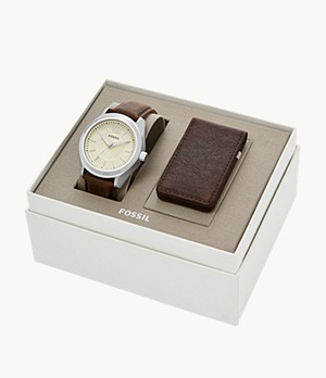 Editor Three-Hand Brown Leather Watch And Wallet Box Set