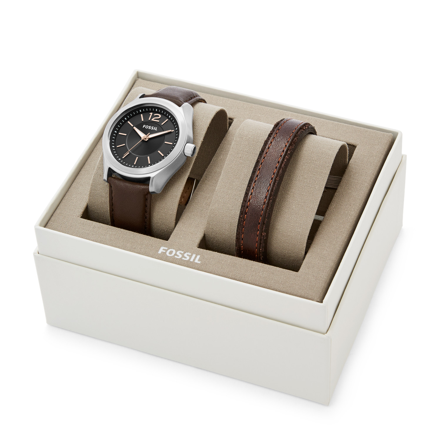 Editor Three Hand Brown Leather Watch And Bracelet Gift Set