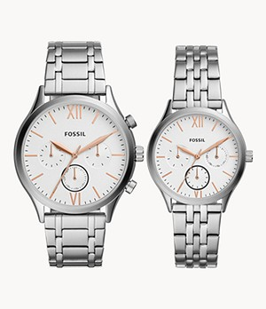 His and Her Fenmore Midsize Multifunction Stainless Steel Watch Gift Set