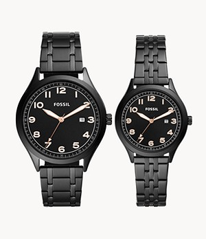 His and Her Wylie Three-Hand Black Stainless Steel Watch Box Set