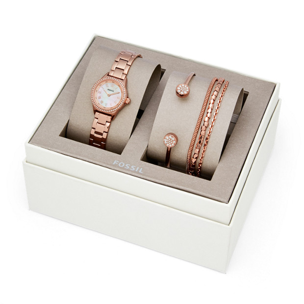 Blythe Three Hand Rose Gold Tone Stainless Steel Watch And Jewelry Gift Set by Fossil