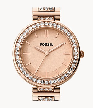 Karli Three-Hand Rose Gold-Tone Stainless Steel Watch