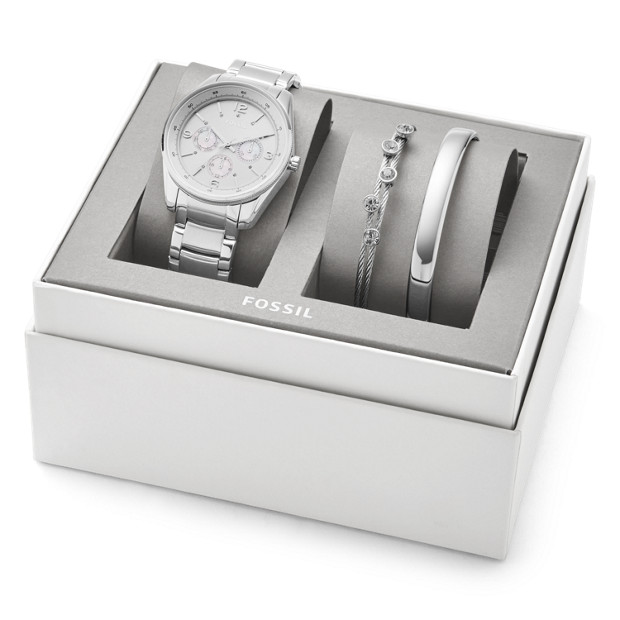 Justine Chronograph Stainless Steel Watch And Jewelry Gift Set by Fossil