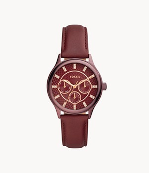 Modern Sophisticate Multifunction Wine Leather Watch