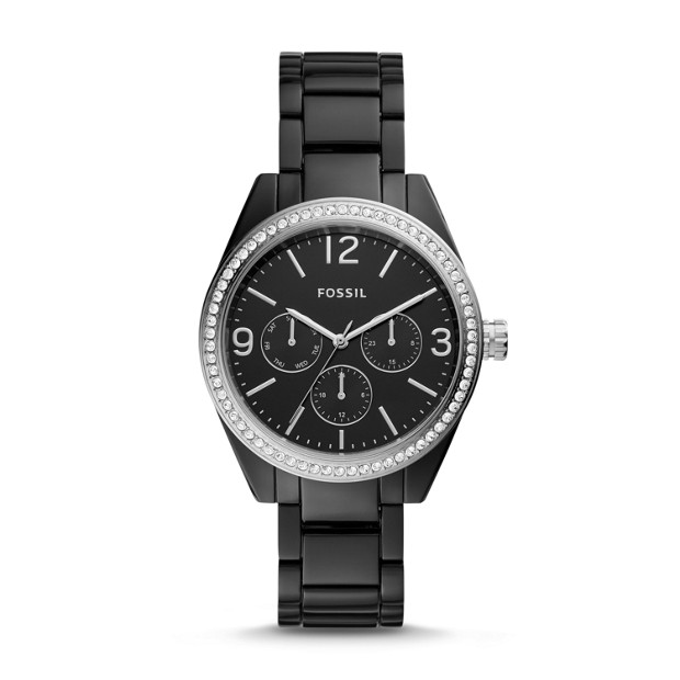 Caleigh Multifunction Black Acetate Watch by Fossil