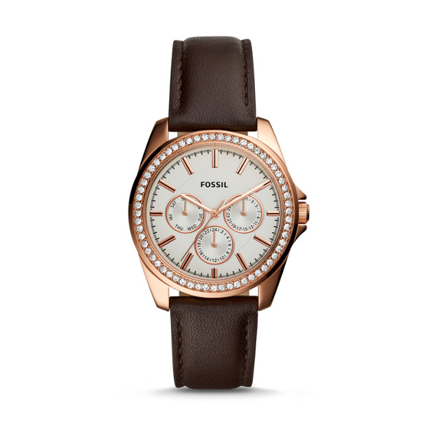 Janice Multifunction Brown Leather Watch by Fossil
