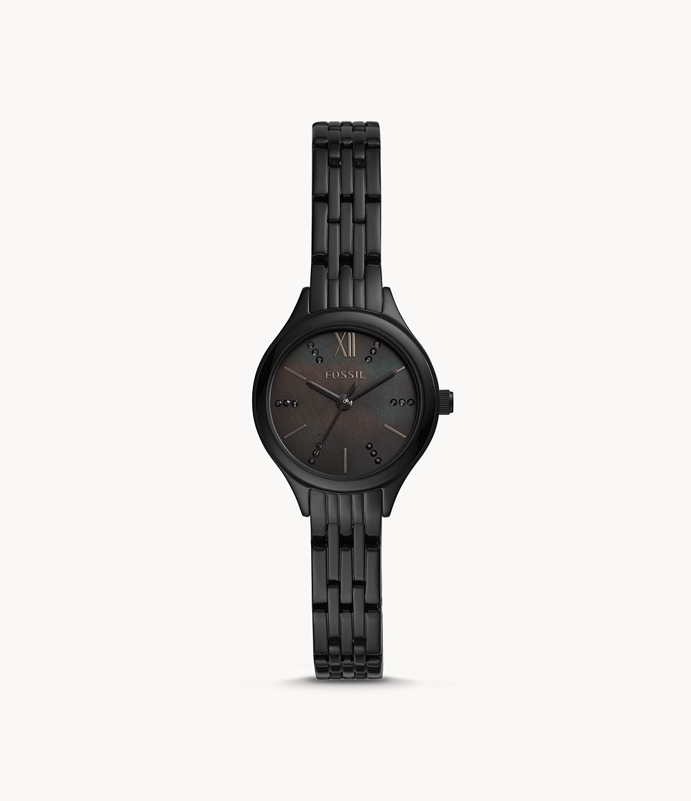 Suitor Mini Three-Hand Black Stainless Steel Watch