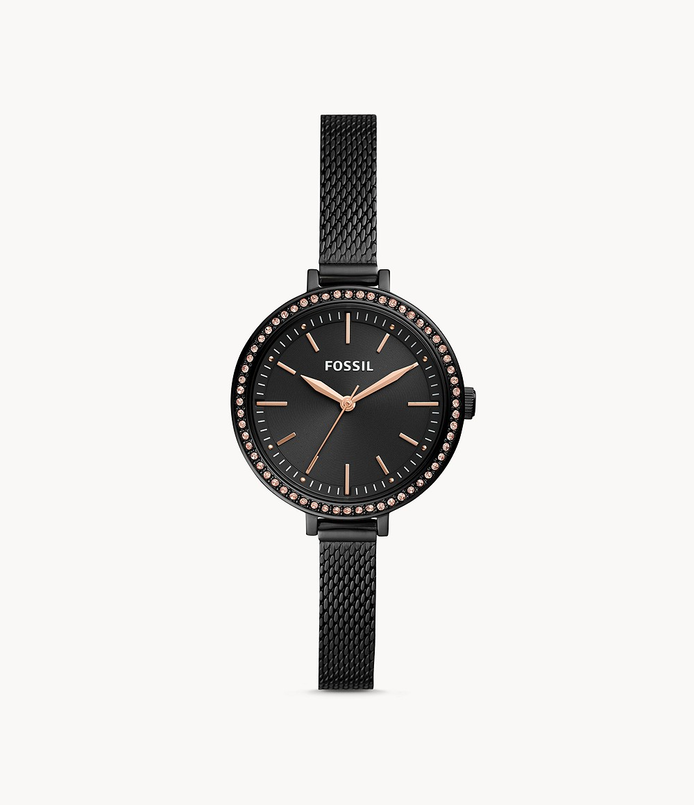 Classic Minute Three-Hand Black Stainless Steel Watch