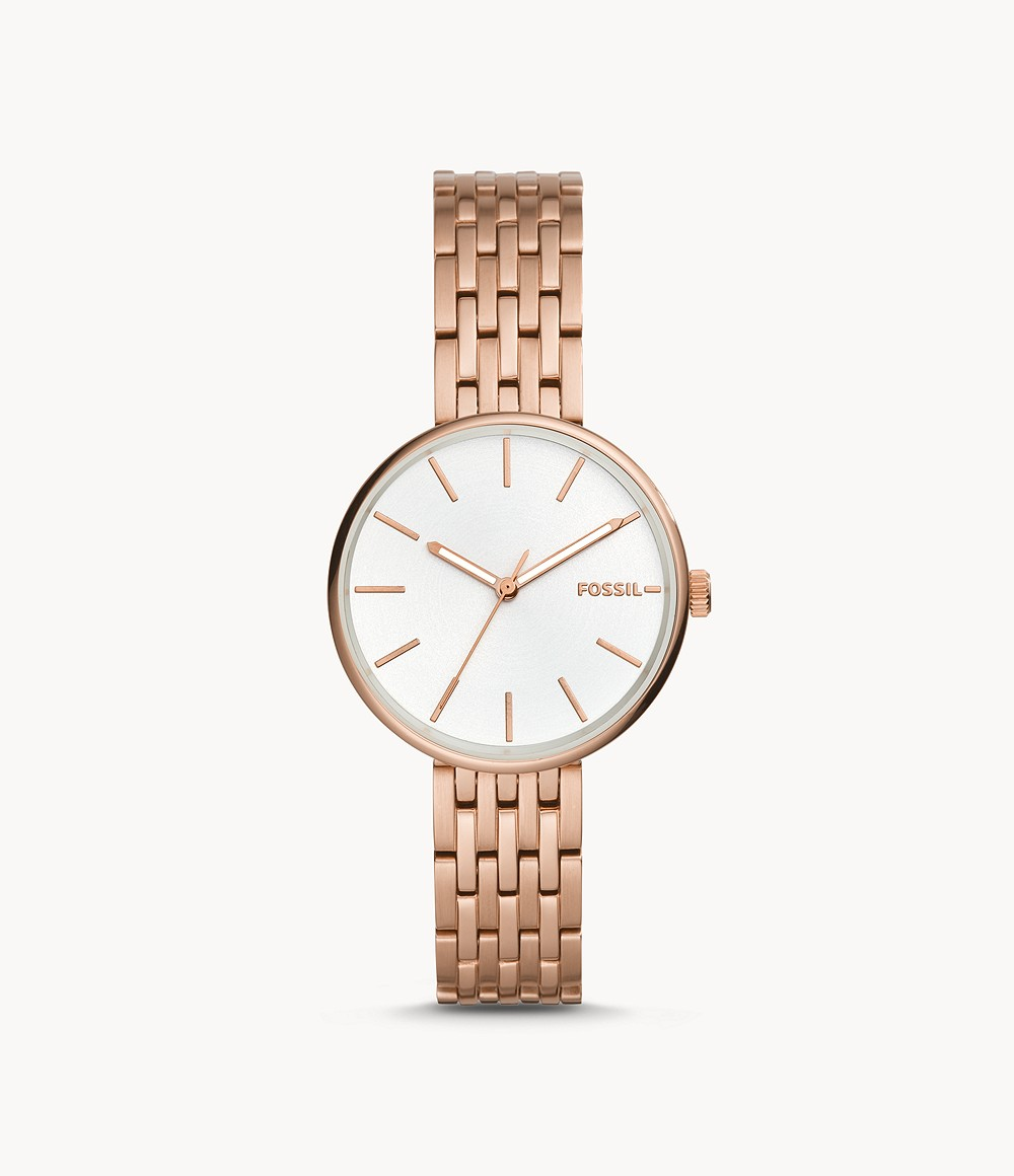 Hutton Three-Hand Rose Gold-Tone Stainless Steel Watch