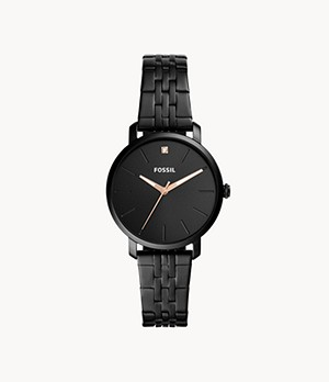 Lexie Luther Three-Hand Black Stainless Steel Watch