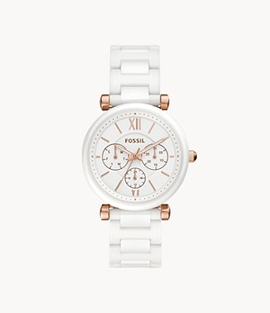 Carlie Multifunction White Ceramic Watch