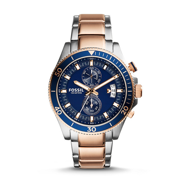 529dd9a84cb Wakefield Chronograph Two-Tone Stainless Steel Watch - Fossil