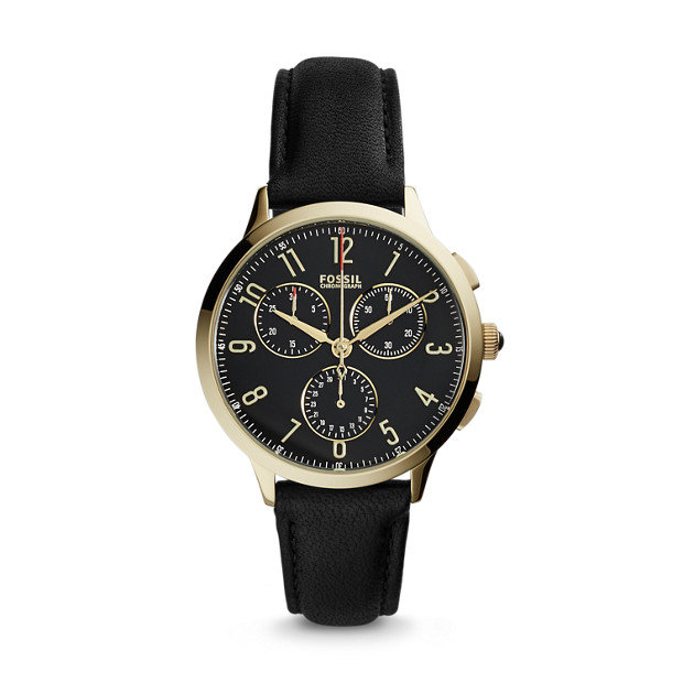 Abilene Chronograph Black Leather Watch Fossil
