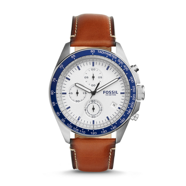 a7122e13421 Sport 54 Chronograph Brown Leather Watch - Fossil