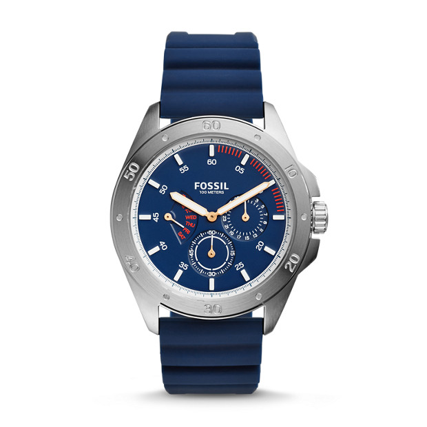 92c40783993 Sport 54 Multifunction Blue Silicone Watch - Fossil