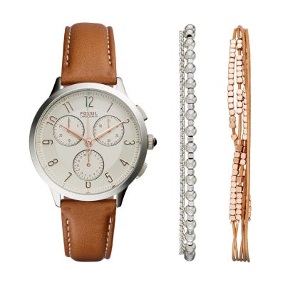 Abilene Chronograph Light Brown Leather Watch and Jewelry Box Set