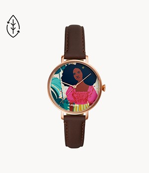 Limited Edition Curator Series Kalya Three-Hand Brown Leather Watch