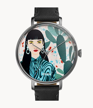 Limited Edition Curator Series Kalya Three-Hand Black Leather Watch
