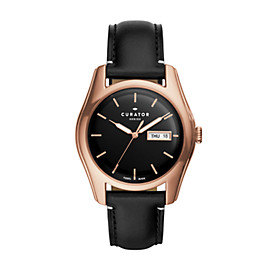 The Curator Series Fossil x Benjamin Vandiver Three-Hand Day-Date Black Leather Watch
