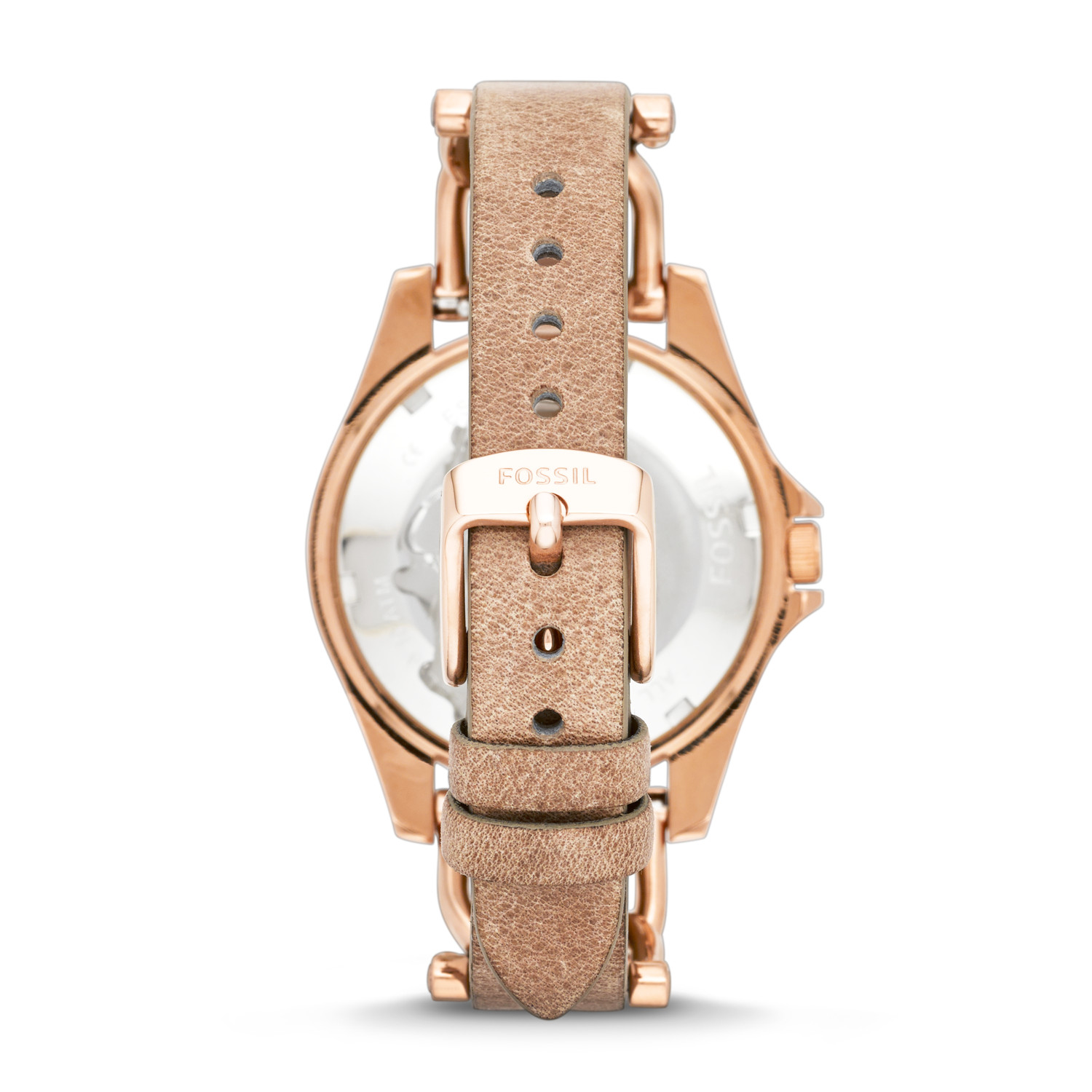 c5b4313f6f1 Riley Multifunction Rose-Tone   Sand Leather Watch - Fossil