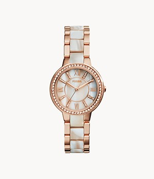 Virginia Rose-Tone & Horn Acetate Stainless Steel Watch