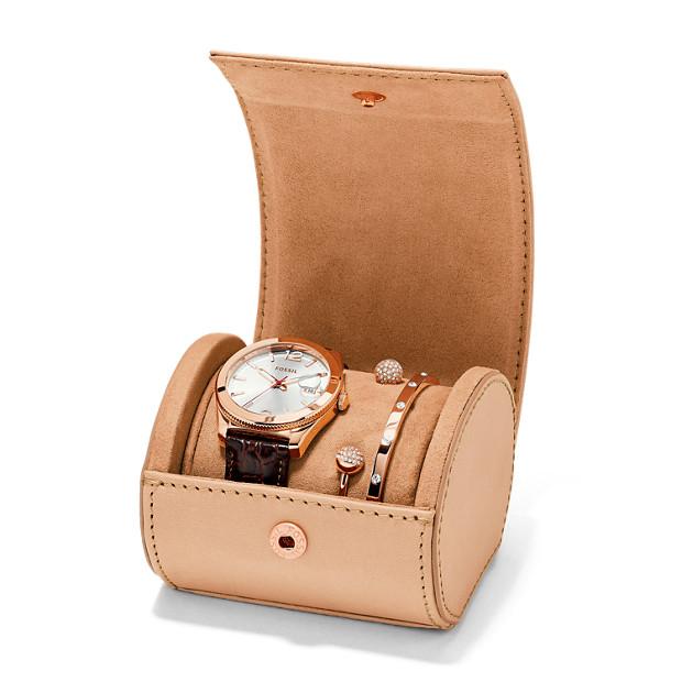 Perfect Boyfriend Leather Watch Bracelet Set Fossil