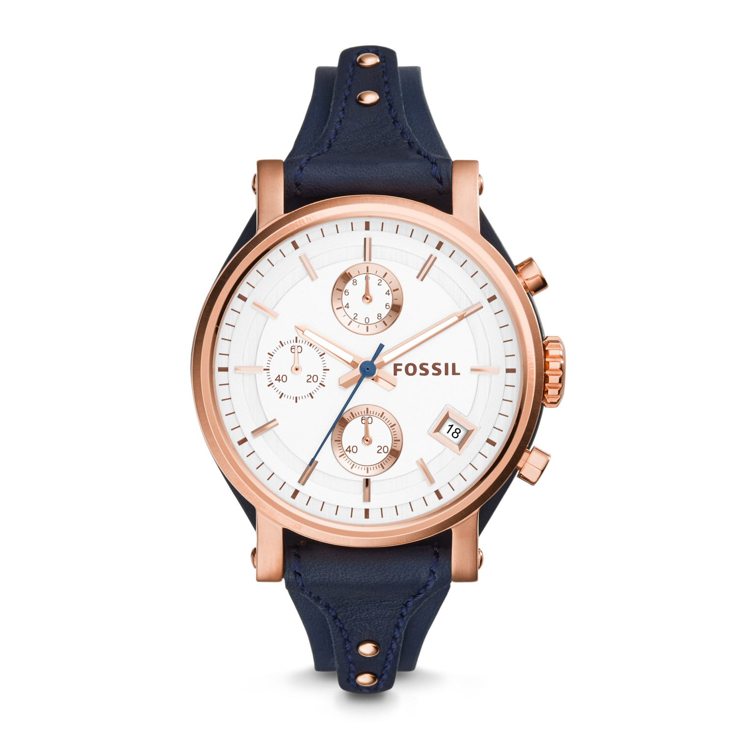 2a64f884947 Original Boyfriend Chronograph Navy Leather Watch - Fossil