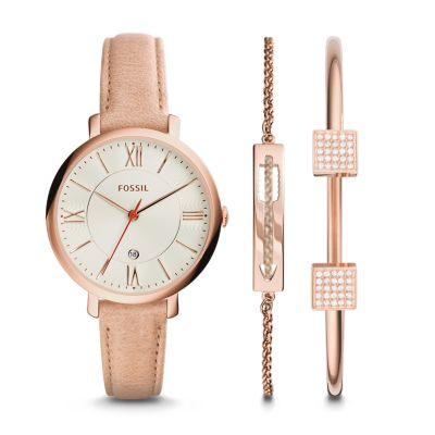 Jacqueline Leather Watch and Jewelry Box Set Fossil