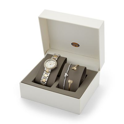 Virginia Stainless Steel Watch and Jewelry Box Set Fossil
