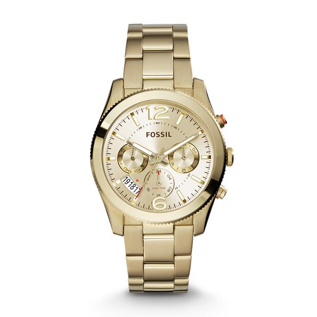 Damenuhren fossil gold  Damenuhr Perfect Boyfriend - Multifunktion - Edelstahl - Gold - Fossil