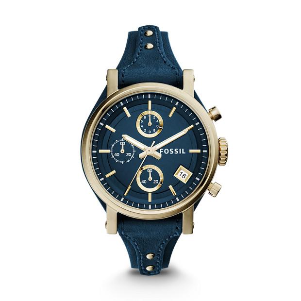 5a1baf25c Original Boyfriend Chronograph Midnight Blue Leather Watch - Fossil