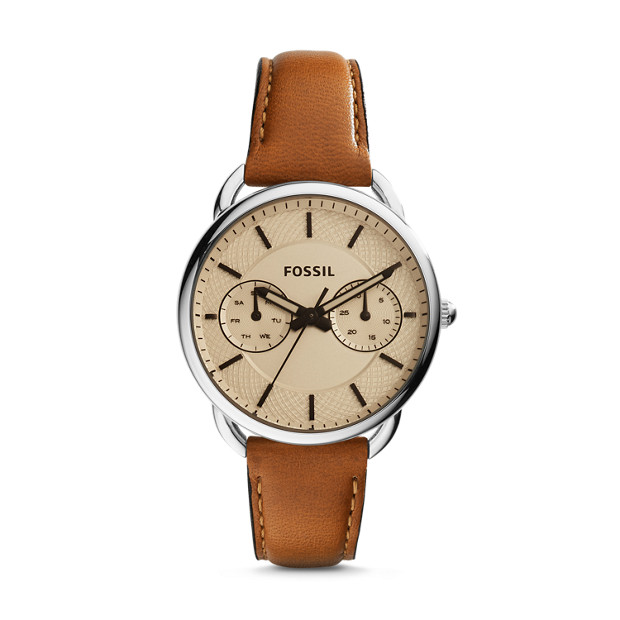 ed3058b7a91a3 Tailor Multifunction Dark Brown Leather Watch - Fossil