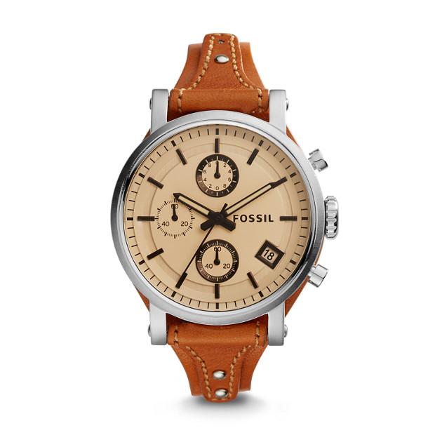 22e2b82023d Original Boyfriend Sport Chronograph Dark Brown Leather Watch - Fossil