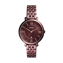 Jacqueline Three-Hand Date Wine Stainless Steel Watch