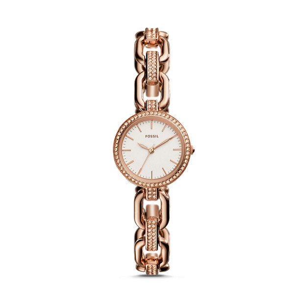 Kerstyn Three Hand Rose Gold Tone Stainless Steel Watch Fossil