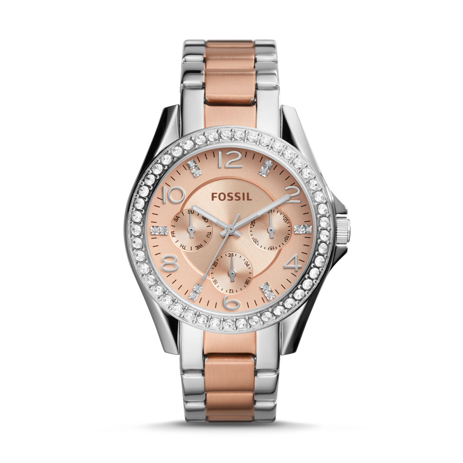 2cbeadf879c1 Riley Multifunction Two-Tone Stainless Steel Watch - Fossil