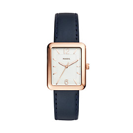 Atwater Three-Hand Navy Leather Watch