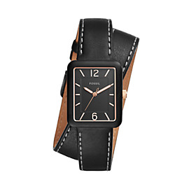 Atwater Three-Hand Black Leather Wrap Watch
